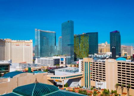 Skyline of Las Vegas strip - aerial view - LAS VEGAS - NEVADA - OCTOBER 12, 2017 Editorial
