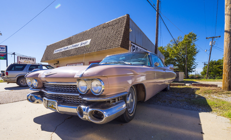 Classic American Oldtimer Car like Pink Cadillac at Route 66 - STROUD - OKLAHOMA - OCTOBER 16, 2017