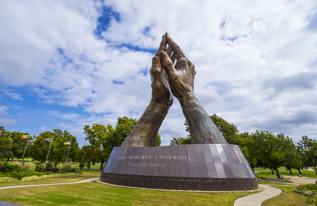 Huge praying hands sculpture at Oral Roberts University in Oklahoma - TULSA - OKLAHOMA - OCTOBER 17, 2017