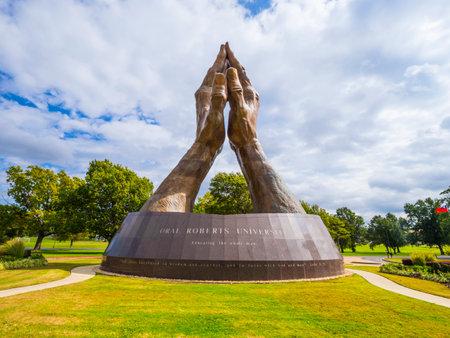 Huge praying hands sculpture at Oral Roberts University in Oklahoma - TULSA - OKLAHOMA - OCTOBER 17, 2017
