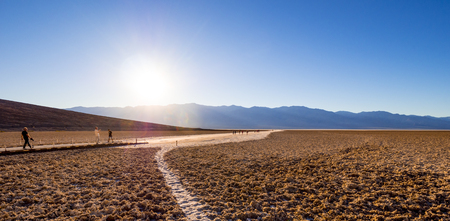 The amazing landscape of Death Valley National Park Badwater salt lake - DEATH VALLEY - CALIFORNIA - OCTOBER 23, 2017