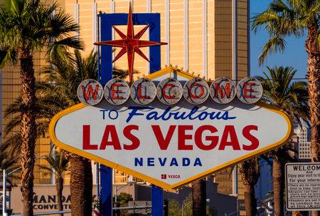 Welcome to Las Vegas sign at Las Vegas Boulevard - LAS VEGAS - NEVADA - OCTOBER 12, 2017 Editorial