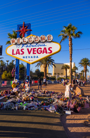 Expression of condolences at Las Vegas sign after Terror attack - LAS VEGAS - NEVADA - OCTOBER 12, 2017