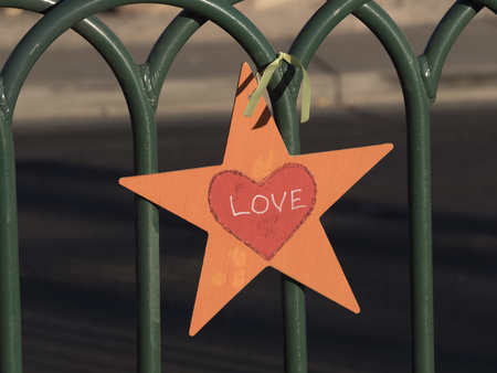 Love Star attached to a fence - LAS VEGAS - NEVADA - OCTOBER 12, 2017