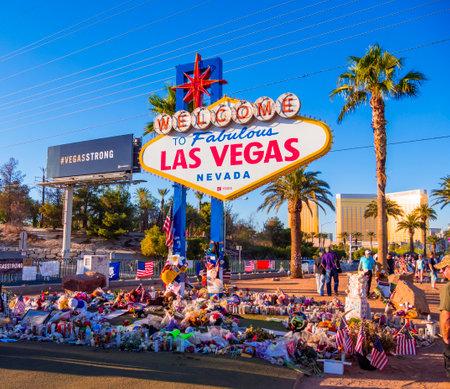 Expression of condolences at Las Vegas sign after Terror attack - LAS VEGAS - NEVADA - OCTOBER 12, 2017