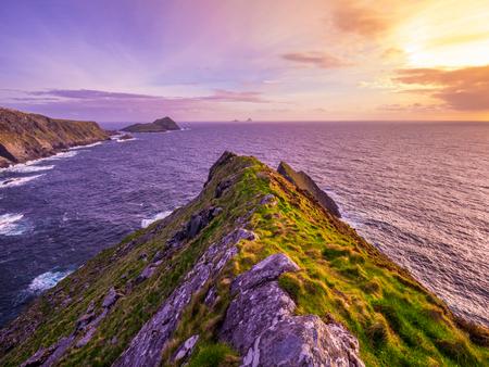 Irish coast line at sunset - Kerry Cliffs Stock Photo