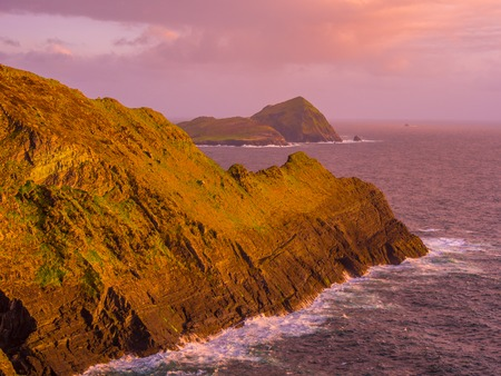The Kerry Cliffs in Ireland - amazing sunset view