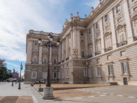 The Royal Palace in Madrid called Palacio Real - a popular landmark - MADRID / SPAIN - FEBRUAR 21, 2018 Banco de Imagens - 116829558