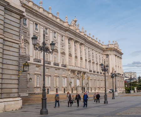 The Royal Palace in Madrid called Palacio Real - a popular landmark - MADRID  SPAIN - FEBRUAR 21, 2018 Editorial
