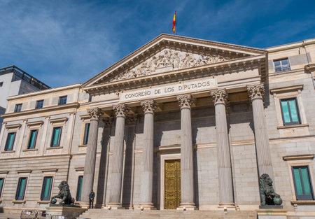 The Assembly Building in Madrid called Congreso de los disputados - parliament building - MADRID  SPAIN - FEBRUAR 21, 2018