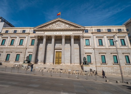 Wide angle view over the Assembly Building in Madrid called Congreso de los disputados - MADRID  SPAIN - FEBRUAR 21, 2018