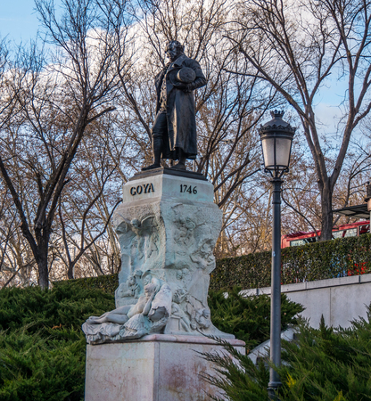 Monument and statue of Goya at Prado museum in Madrid - MADRID  SPAIN - FEBRUAR 21, 2018 Editorial