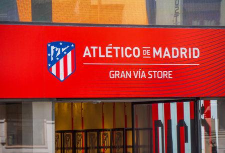 Atletico de Madrid Fan Shop at Gran Via - MADRID  SPAIN - FEBRUAR 21, 2018 Editorial