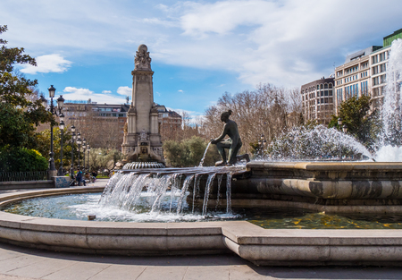 Fountain at Square of Spain in Madrid called Plaza de Espanya - MADRID  SPAIN - FEBRUARY 20, 2018
