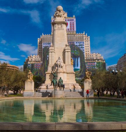 Famous Square of Spain called Plaza de Espanya in Madrid - MADRID  SPAIN - FEBRUARY 20, 2018