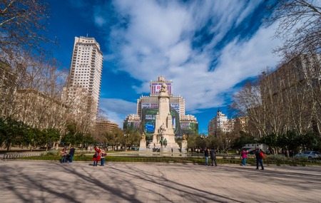 Square of Spain called Plaza de Espanya in Madrid on a sunny day - MADRID  SPAIN - FEBRUARY 20, 2018