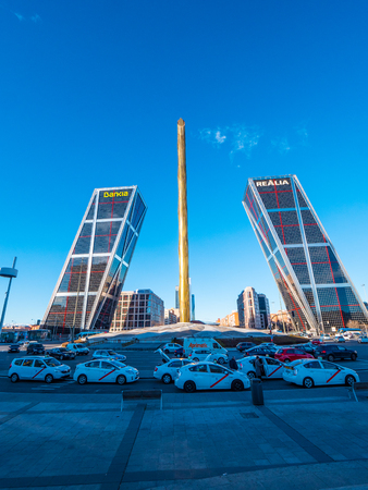 Most famous towers in Madrid - The Kio Torres at Castilla Square - MADRID  SPAIN - FEBRUARY 20, 2018