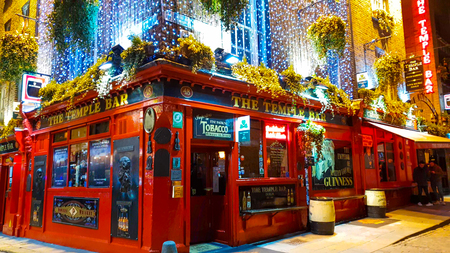 Amazing Temple Bar district in Dublin by night - a popular place