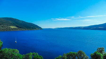 Loch Ness in the Scottish Highlands - the most famous lake in Scotland - aerial view