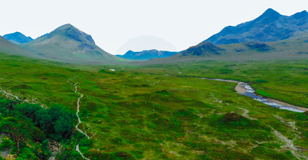 The amazing Scottish Highlands - aerial view Banque d'images - 105253708