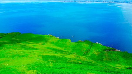 Amazing scenery on the Isle of Skye in Scotland - aerial view
