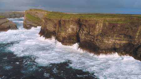 Aerial view over the steep cliffs of the Irish west coast - amazing evening view Reklamní fotografie