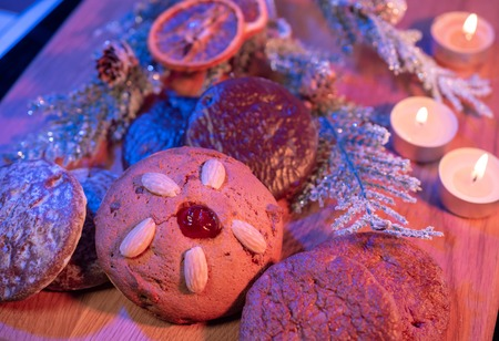 Typical for Christmas the traditional German lebkuchen gingerbread