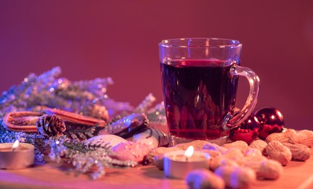 Mulled wine on a Christmas table