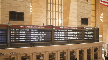Timetable at New York Grand Central station - NEW YORK, UNITED STATES - DECEMBER 4, 2018