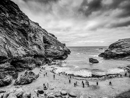 Wide angle view over the cove of Tintagel Cornwall