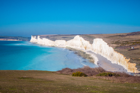 Famous Seven Sisters White Cliffs at the coast of Sussex England
