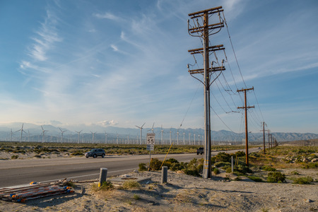 Street in the desert leading to Palm Springs California - travel photography