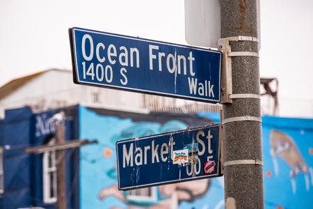 Ocean Front street sign in Venice Beach Los Angeles
