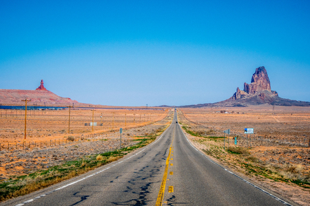 Endless road to Monument Valley in Utah
