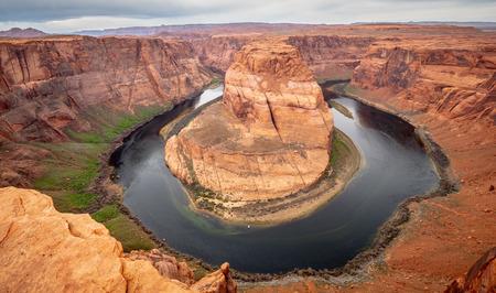 Groothoek uitzicht over Horseshoe Bend in Arizona Stockfoto