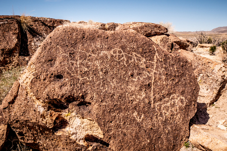Rocks with ancient Petroglyphs at Chalfant Valley