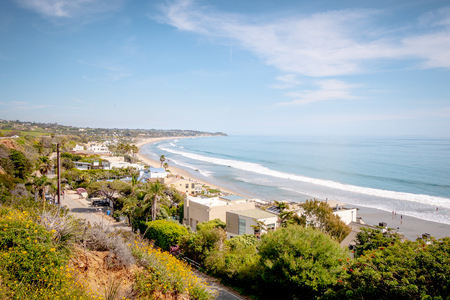 Exclusive mansions at Malibu beach at the Pacific Coast Highway Stock Photo
