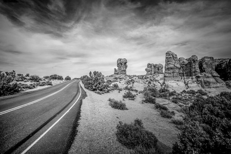 Scenic route through Arches National Park in Utah