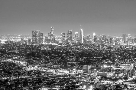 Downtown Los Angeles by night - aerial view