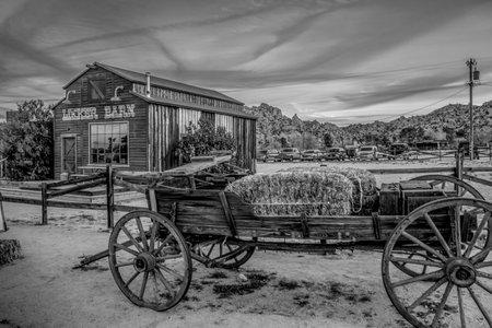 Berühmte Pioneertown in Kalifornien am Abend - KALIFORNIEN, USA - 18. MÄRZ 2019