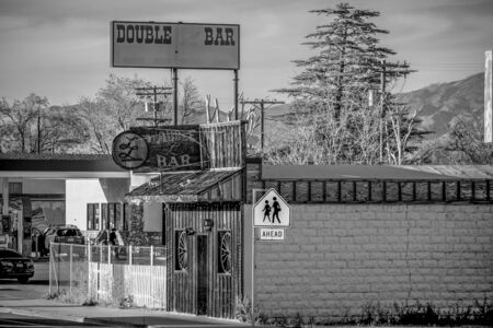 Double bar in the historic village of Lone Pine - LONE PINE CA, USA - MARCH 29, 2019
