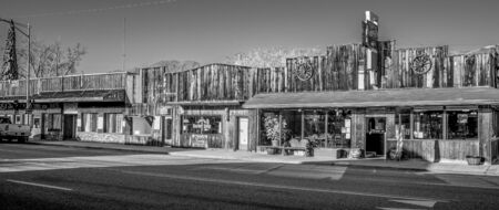 Old wooden buildings in the historic village of Lone Pine - LONE PINE CA, USA - MARCH 29, 2019