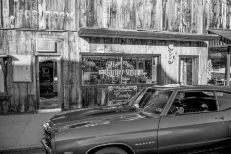 Typical street view in the historic village of Lone Pine - LONE PINE CA, USA - MARCH 29, 2019