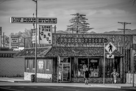 Drug store in the historic village of Lone Pine - LONE PINE CA, USA - MARCH 29, 2019