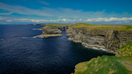 Cliffs of Kilkee in Ireland aerial view - travel photography