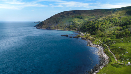 Wonderful Murlough Bay in North Ireland - aerial view - travel photography