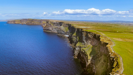 Most famous landmark in Ireland - The Cliffs of Moher aerial drone footage - travel photography Stock Photo