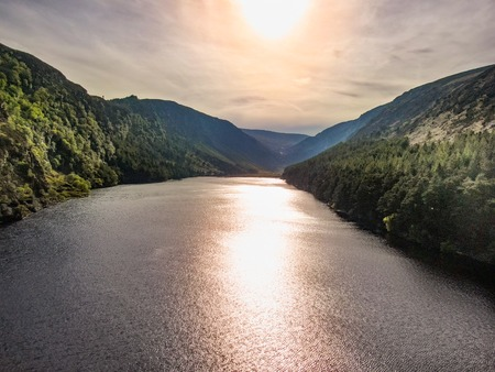 The lakes at Glendalough in the Wicklow mountains of Ireland - aerial photography