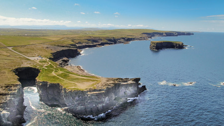 Loop Head at County Clare in Ireland - aerial drone footage - travel photography Stock Photo