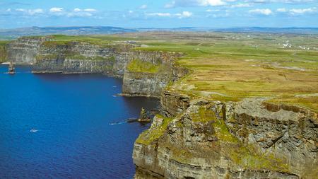 Cliffs of Moher in Ireland at the Atlantic Ocean - aerial drone footage - travel photography